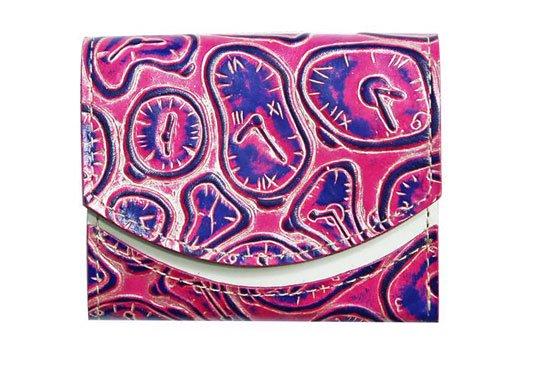 小さい財布 小さいふ。イタリアンレザー+アートシリーズ「ペケーニョ ダリの時計 スパニッシュローズ」ローズ×白