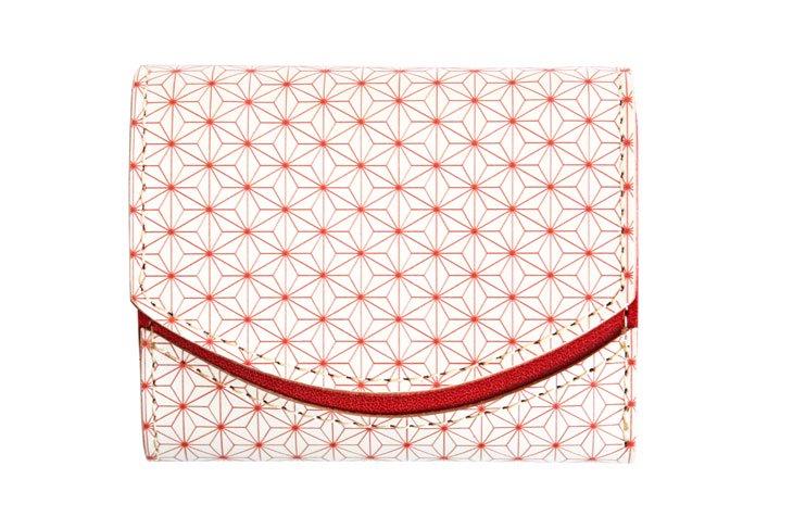 小さい財布 小さいふ。日本の伝統紋様シリーズ「ペケーニョ 麻の葉 椿 Tsubaki」白×赤