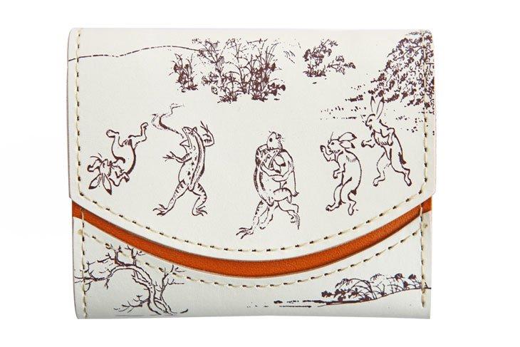 小さい財布 小さいふ。日本の伝統紋様シリーズ「ペケーニョ 鳥獣戯画ホワイト」栃木レザー白