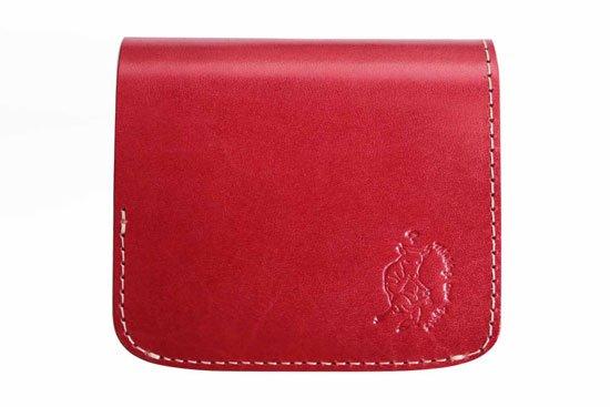 小さい財布 小さいふ。栃木レザー定番BASICシリーズ「コンチャ レッド」赤