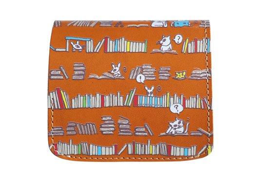 小さい財布 小さいふ。アートシリーズ「コンチャ クロとロクと本屋さん キャメル」栃木レザーキャメル