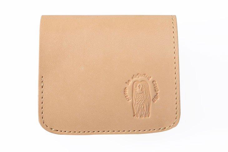 小さい財布 小さいふ。栃木レザー素-su-シリーズ「コンチャ アマビエ」素上げヌメ革