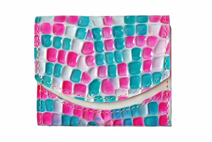 小さい財布 小さいふ。ステンドグラスシリーズ「ペケーニョ stendglass モナリザ」ピンク×ターコイズ