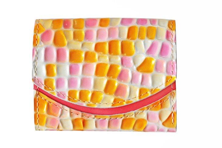 小さい財布 小さいふ。ステンドグラスシリーズ「ペケーニョ stendglass ティンカーベル」黄×ピンク