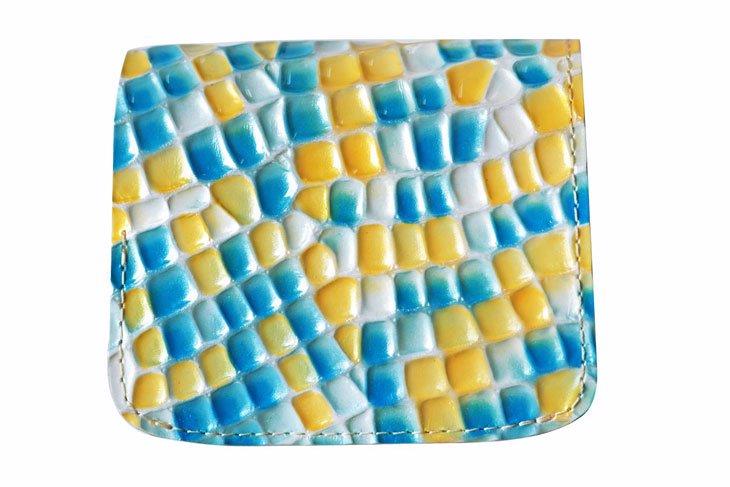 小さい財布 小さいふ。ステンドグラスシリーズ「コンチャ stendglass ミス・ヘップバーン」黄×水色