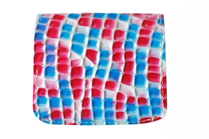 小さい財布 小さいふ。ステンドグラスシリーズ「コンチャ stendglass カルメン」赤×青