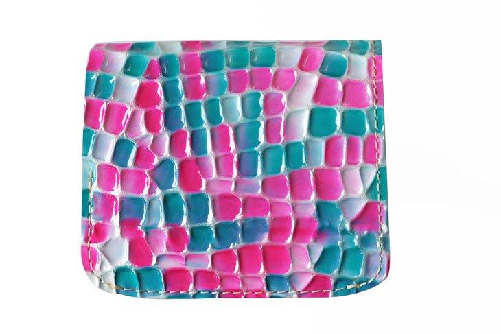 小さい財布 小さいふ。ステンドグラスシリーズ「コンチャ stendglass モナリザ」パープル×ターコイズ