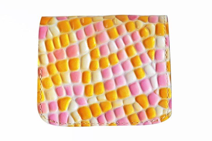 小さい財布 小さいふ。ステンドグラスシリーズ「コンチャ stendglass ティンカーベル」黄×ピンク
