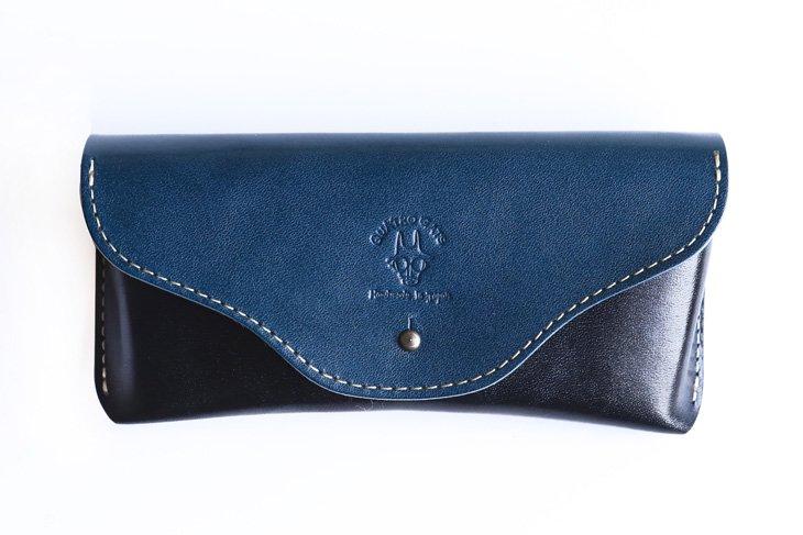 革のメガネケース 定番カラー ブルー