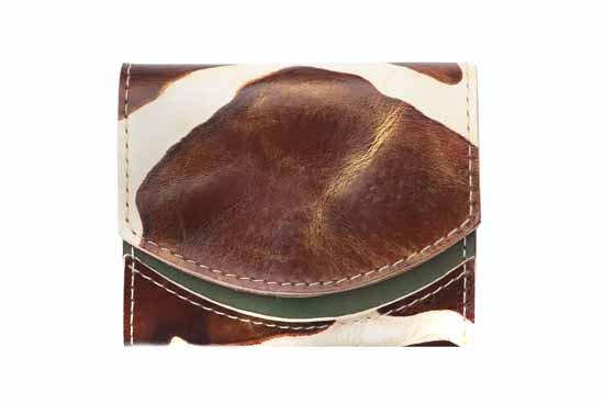 小さい財布 小さいふ。イタリアンレザー+アートシリーズ「ペケーニョ ジラフブラウン」茶×緑