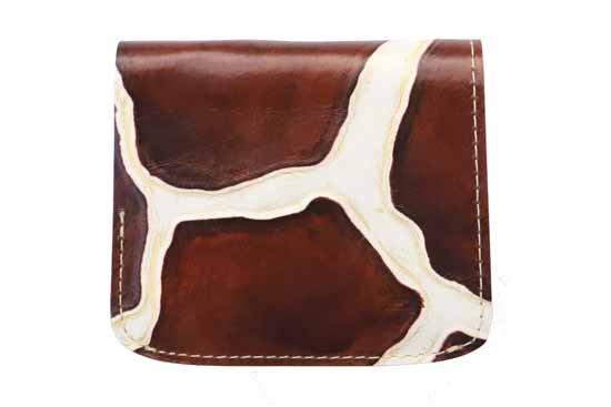 小さい財布 小さいふ。イタリアンレザー+アートシリーズ「コンチャ ジラフブラウン」茶×白