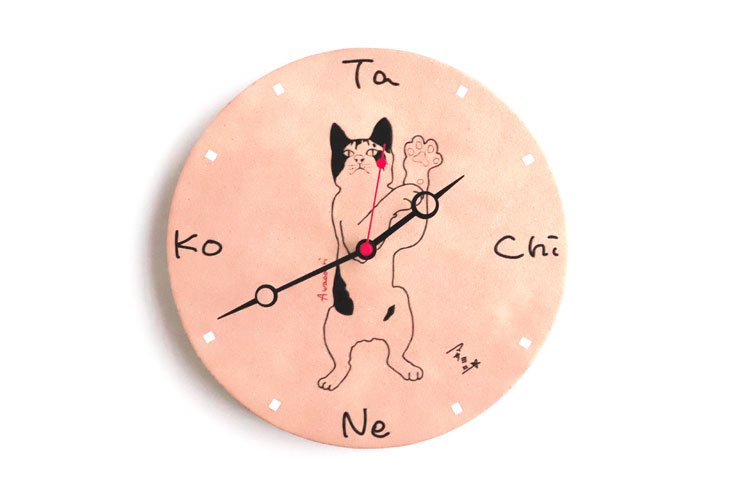 革の時計 / 山本正義「立ち猫」/ あわおどり立ち猫