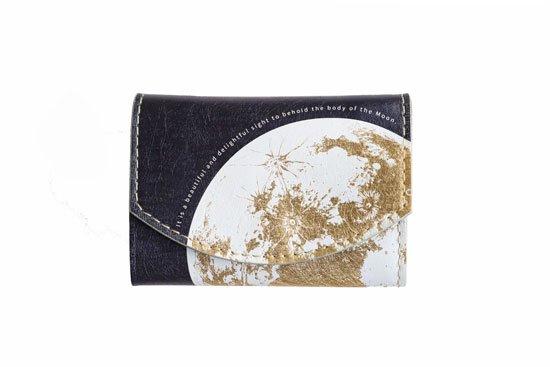 小さい財布 小さいふ。宇宙シリーズ「ポキート 月面着陸 Moon landing 2020」ゴールド×ネイビー