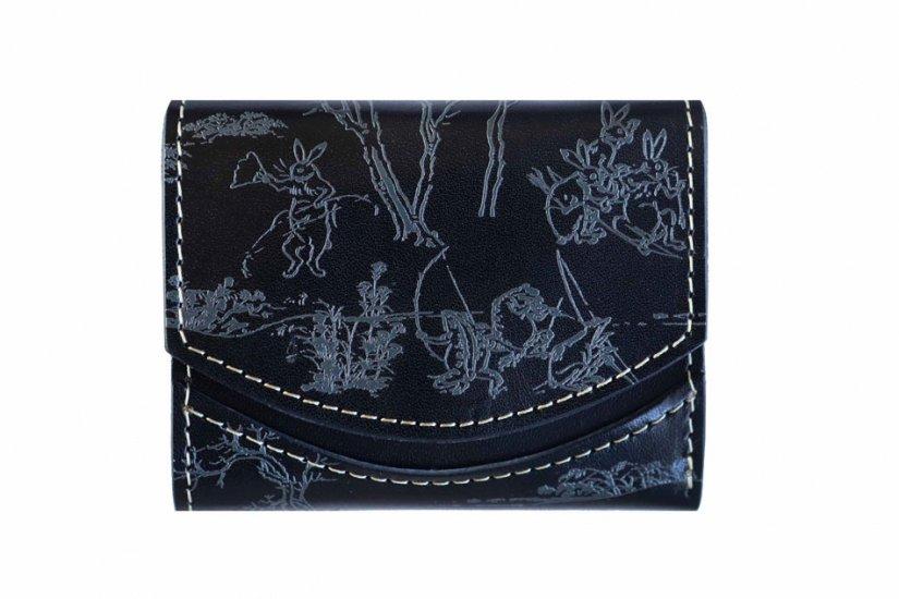 小さい財布 小さいふ。日本の伝統紋様シリーズ「ペケーニョ 鳥獣戯画ブラック」栃木レザー黒