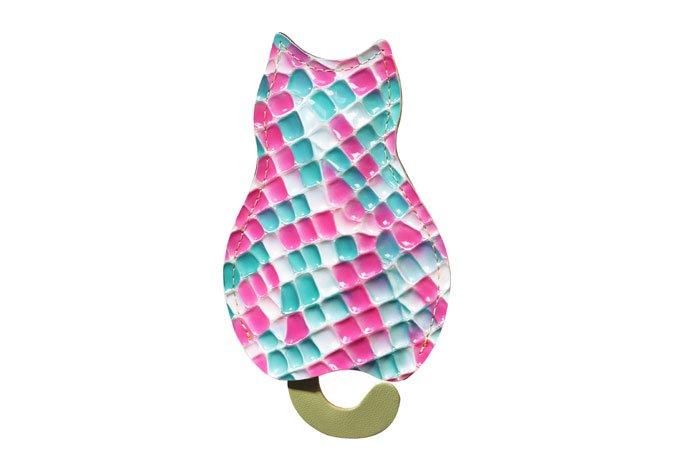ステンドグラスシリーズ「猫のうしろすがたをしたキーケース  stendglass モナリザ」猫グッズ ピンク×ターコイズ