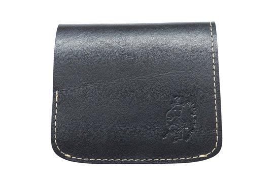 【限定】小さい財布 小さいふ。イタリアンレザーシリーズ「コンチャ  VOLPI ヴォルピ社 オイルレザー ブラック」黒