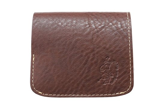 【限定】小さい財布 小さいふ。イタリアンレザーシリーズ「コンチャ  VOLPI ヴォルピ社 オイルレザー ダークブラウン×ブラック」(D-BL)