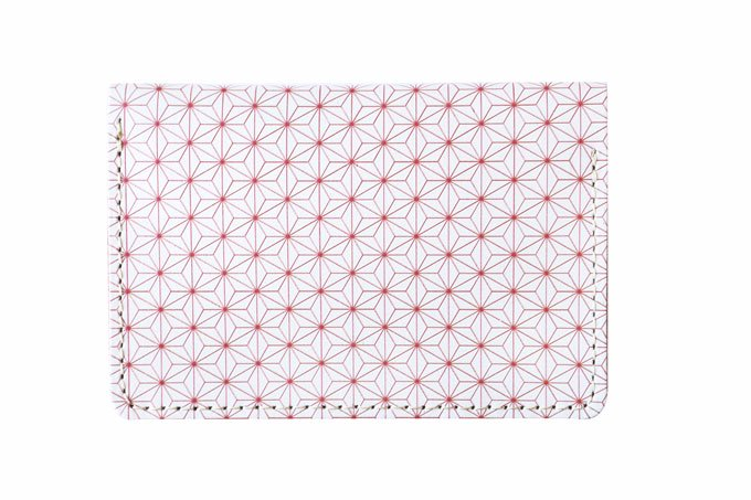 日本の伝統紋様シリーズ「名刺入れ/ICカードケース  麻の葉」栃木レザー