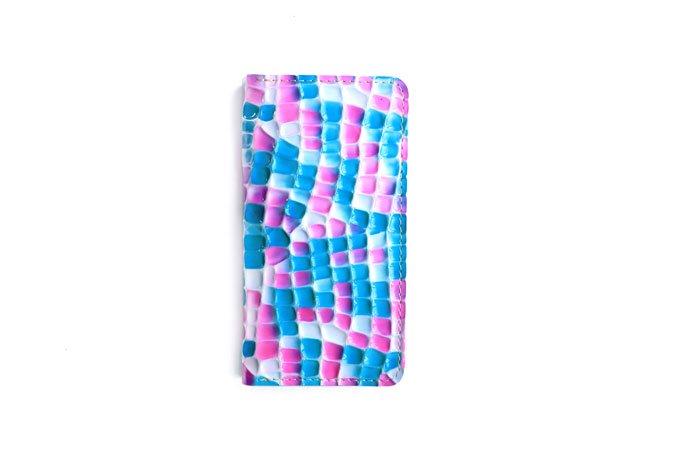 革のスマホケース 「Mサイズ  ステンドグラスシリーズ  ピンク×ターコイズ 」