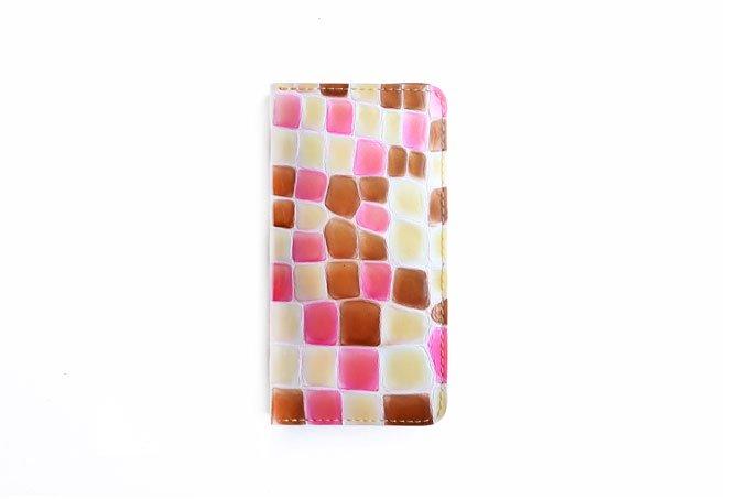 革のスマホケース 「Mサイズ  ステンドグラスシリーズ  ピンク×チョコ 」