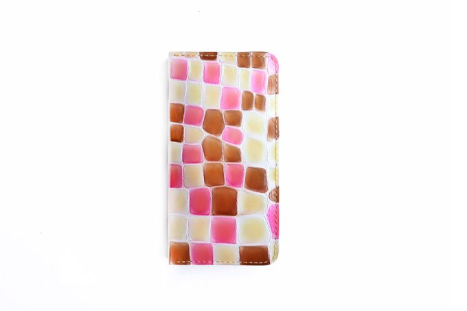 革のスマホケース 「Lサイズ  ステンドグラスシリーズ  ピンク×チョコ 」