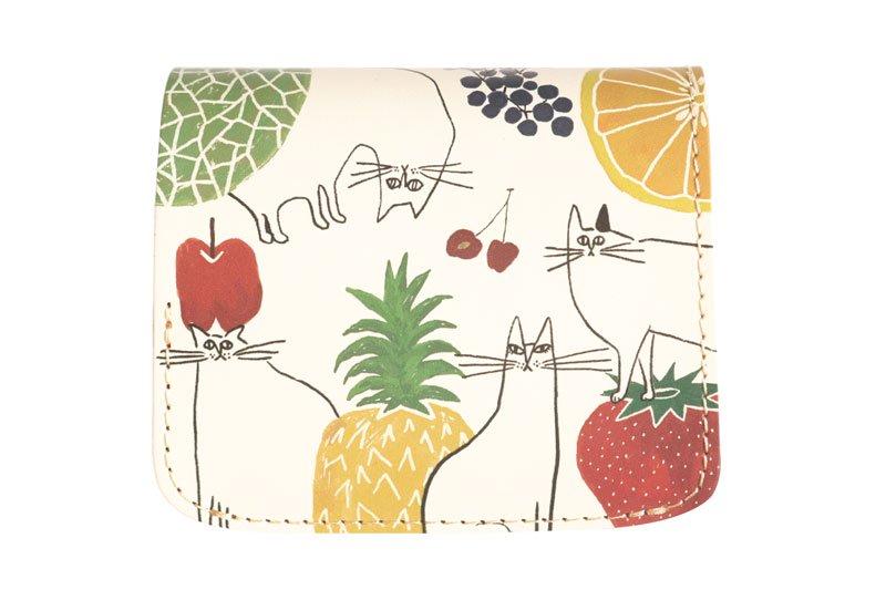 小さい財布 小さいふ。アートシリーズ コンチャ YOSHIDAKE 「猫と果実」ホワイト 白
