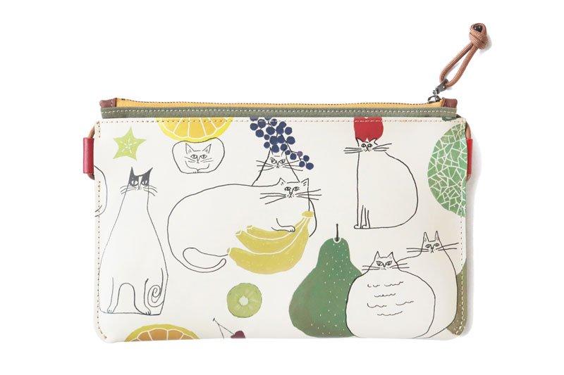 小さいかばん オールレザーシリーズ YOSHIDAKE 「猫と果実」ホワイト