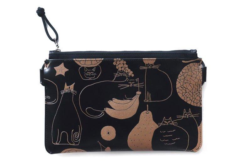 小さいかばん オールレザーシリーズ YOSHIDAKE 「猫と果実」ブラック 黒