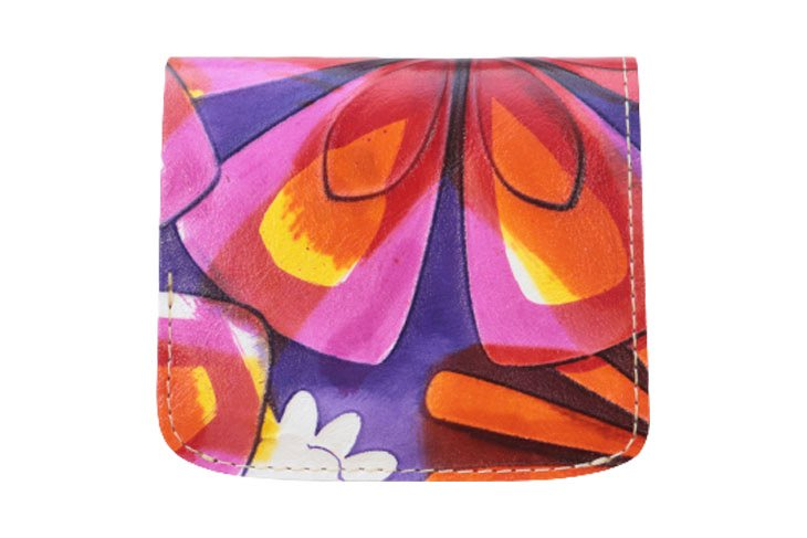 小さい財布 小さいふ。イタリアンレザー+アートシリーズ 「コンチャ アリス 〜黄金の午後〜」紫×橙