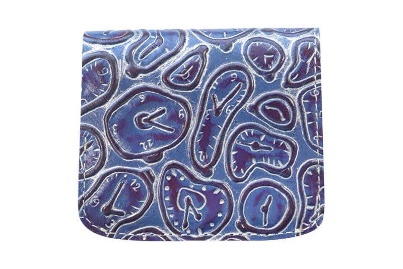 小さい財布 小さいふ。イタリアンレザー+アートシリーズ「コンチャ ダリの時計 ネイビー」紺