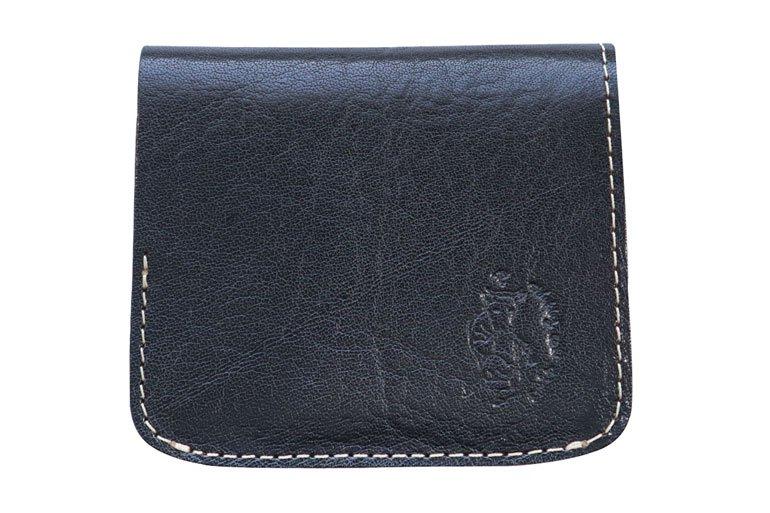 小さい財布 小さいふ。「コンチャ Leather exhibition ヤンキー社イタリアンタンポナートレザー ブラック」黒