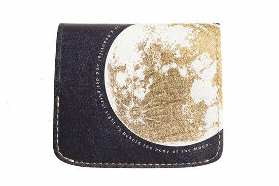 【左利き LEFTY】小さい財布 小さいふ。宇宙シリーズ「コンチャ 月面着陸  Moon landing 2020」ゴールド×ネイビー