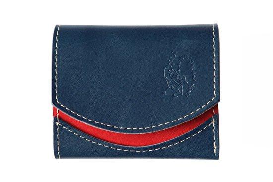 【左利き LEFTY】小さい財布  小さいふ。栃木レザー定番BASICシリーズ「ペケーニョ french toast フレンチトースト」紺×赤×白