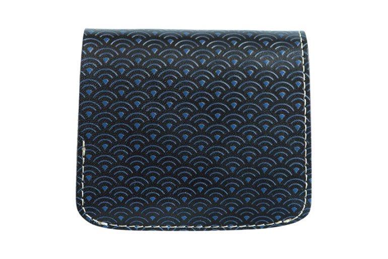 小さい財布 小さいふ。コンチャ「青海波」栃木レザー黒