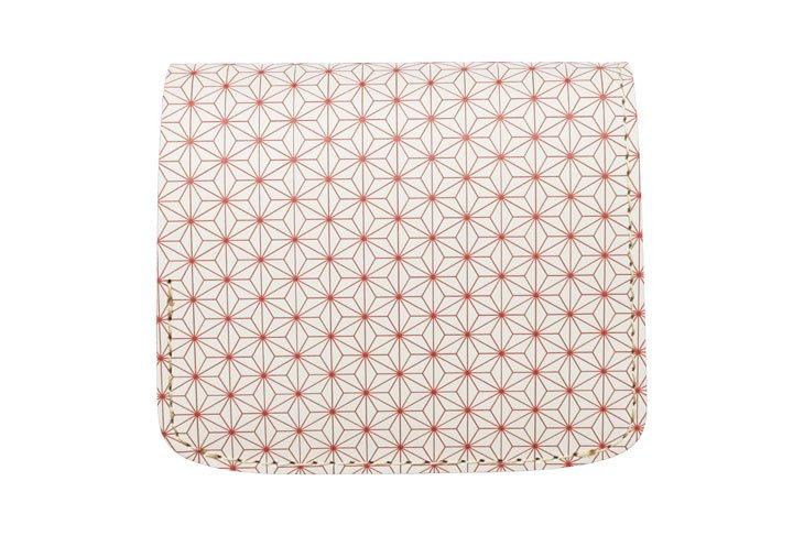小さい財布 小さいふ。日本の伝統紋様シリーズ「コンチャ 麻の葉 椿 Tsubaki」白×赤