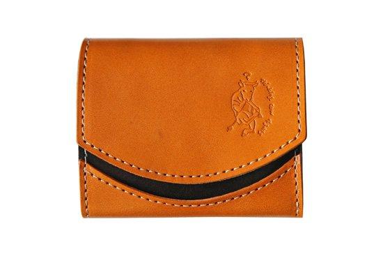 小さい財布  小さいふ。栃木レザー定番BASICシリーズ「ペケーニョ caramel キャラメル」キャメル×黒×白