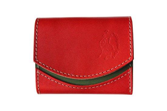 小さい財布  小さいふ。栃木レザー定番BASICシリーズ「ペケーニョ tomato トマト」赤×緑×白