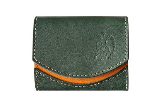 小さい財布  小さいふ。栃木レザー定番シリーズ「ペケーニョ Pi-mann ピーマン」緑×キャメル