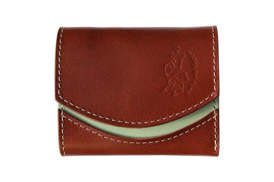 小さい財布  小さいふ。栃木レザー定番BASICシリーズ「ペケーニョ Choco mint チョコミント」茶×ミント