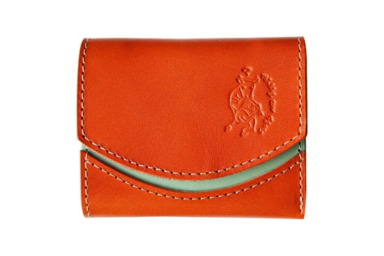 小さい財布  小さいふ。栃木レザー定番シリーズ「ペケーニョ Orange オレンジ」オレンジ×ミント