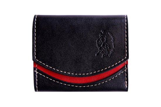小さい財布  小さいふ。栃木レザー定番BASICシリーズ「ペケーニョ Black berry ブラックベリー」黒×赤