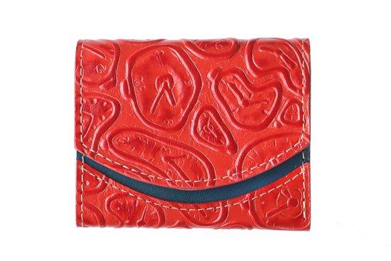小さい財布 小さいふ。イタリアンレザー+アートシリーズ「ペケーニョ ダリの時計 レッド」赤×青