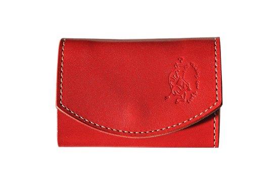 小さい財布  小さいふ。栃木レザー定番シリーズ「ポキート  Tomato トマト」赤×緑×白