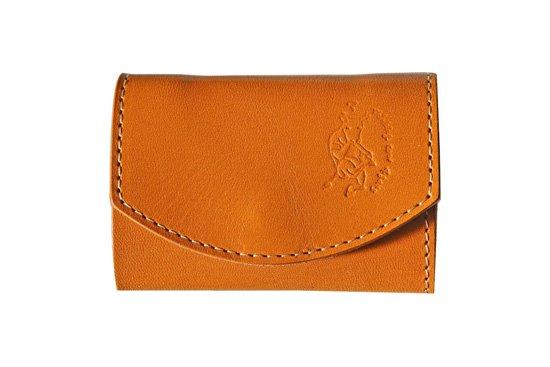 小さい財布  小さいふ。栃木レザー定番BASICシリーズ「ポキート  Caramel  キャラメル」キャメル×黒×白