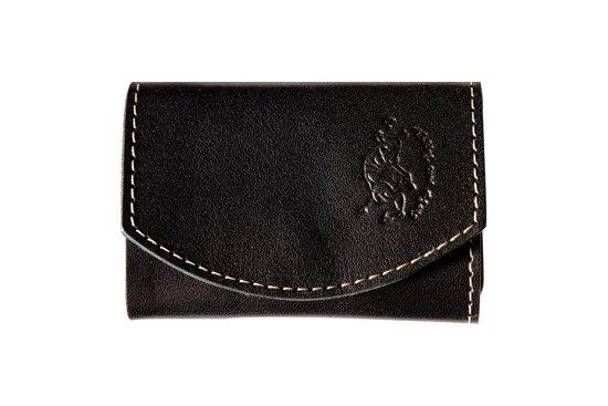 小さい財布  小さいふ。栃木レザー定番BASICシリーズ「ポキート  Black berry ブラックベリー」黒×赤