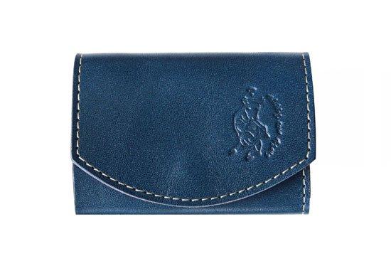 小さい財布  小さいふ。栃木レザー定番BASICシリーズ「ポキート  Tricolore トリコロール」青×赤×白