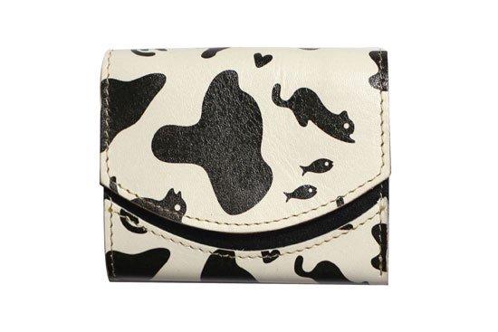 小さい財布 小さいふ。アートシリーズ「ペケーニョ  ホルスタinネコ」白×黒