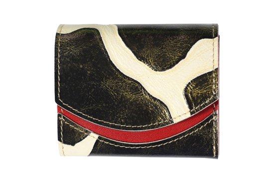 小さい財布 小さいふ。イタリアンレザー+アートシリーズ「ペケーニョ ジラフブラック」黒×赤