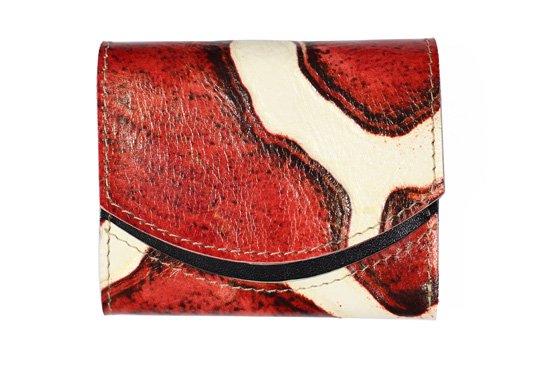 小さい財布 小さいふ。イタリアンレザー+アートシリーズ「ペケーニョ ジラフレッド」赤×黒