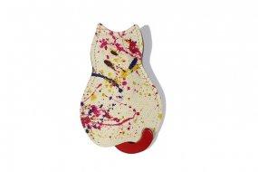 【猫グッズ】猫のうしろすがたをしたキーケース限定カラー 「アーティー/ペイント・レッド」クアトロガッツ